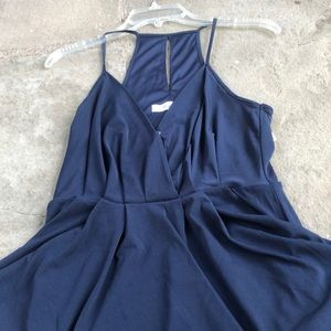 BCBG navy blue halter mini dress with pockets
